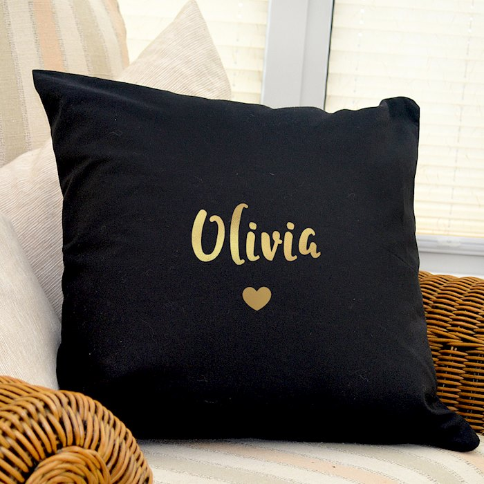 Gold Name Black Cushion Cover