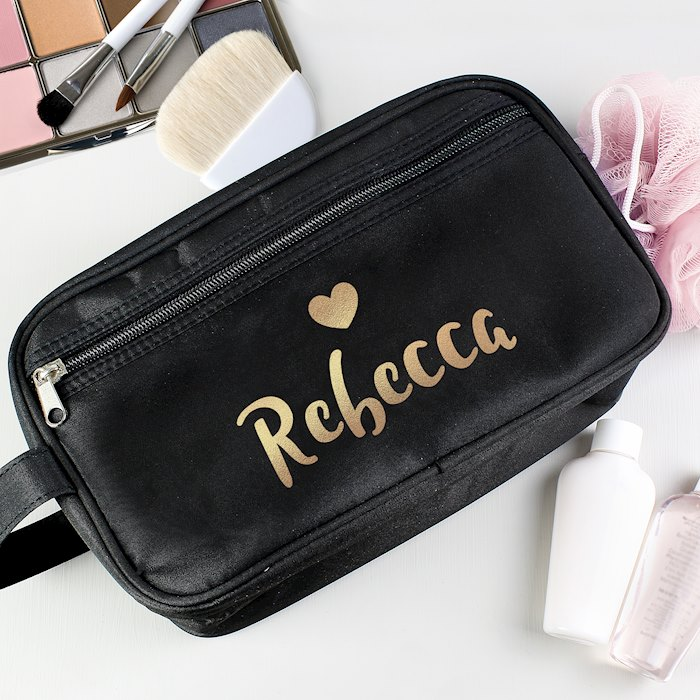 Gold Name Black Vanity Bag