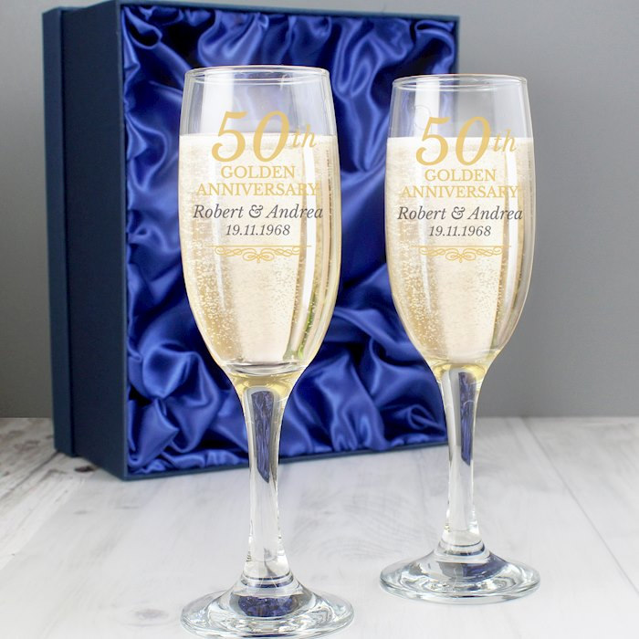 50th Golden Anniversary Pair of Flutes With Gift Box