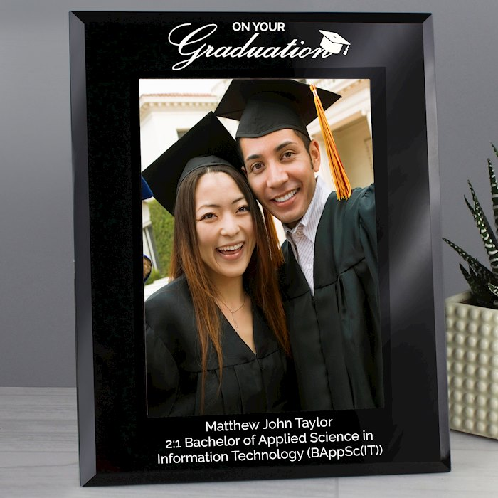 Graduation Black Glass 7x5 Photo Frame