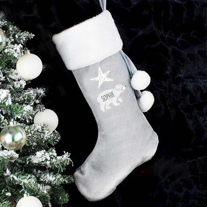 Grey Baby Polar Bear Stocking