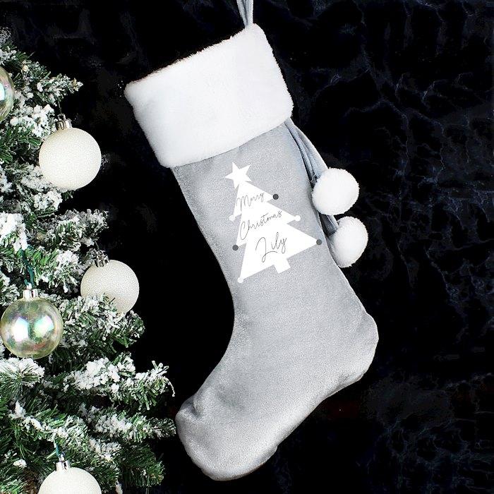 Grey Christmas Tree Stocking