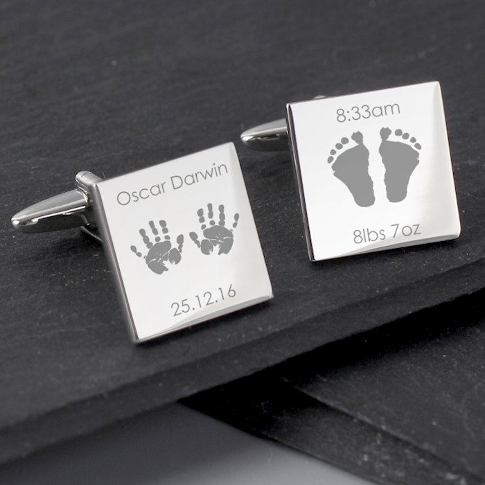 Hands and Feet New Baby Square Cufflinks