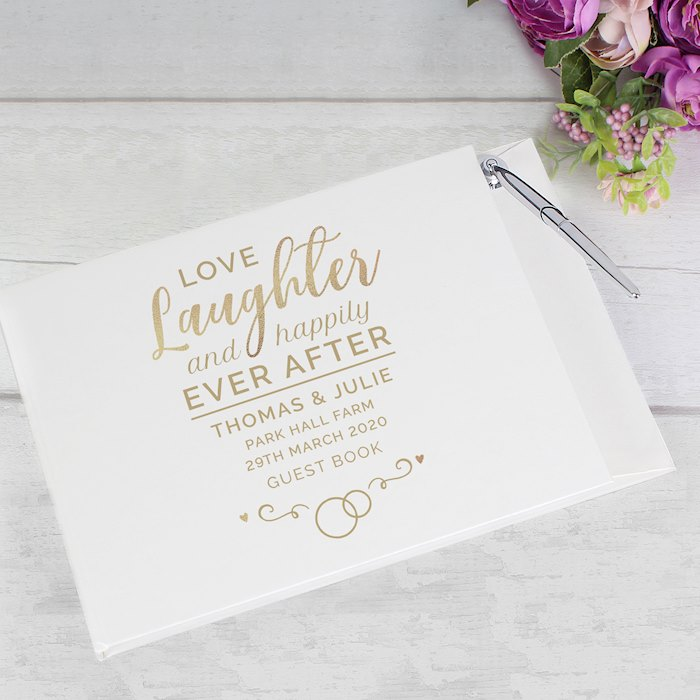 Happily Ever After Wedding Hardback Guest Book & Pen