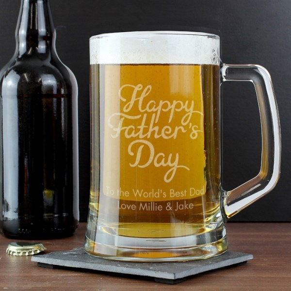 Happy Father's Day Glass Pint Stern Tankard
