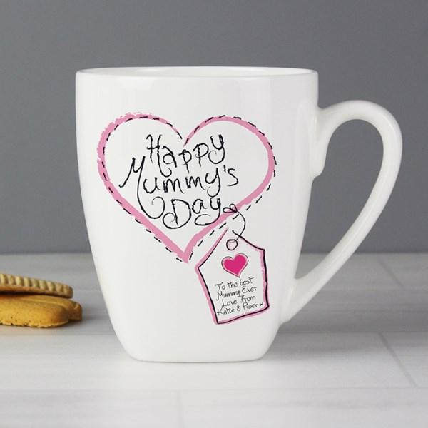 Personalised Heart Stitch Happy Mummys Day Latte Mug