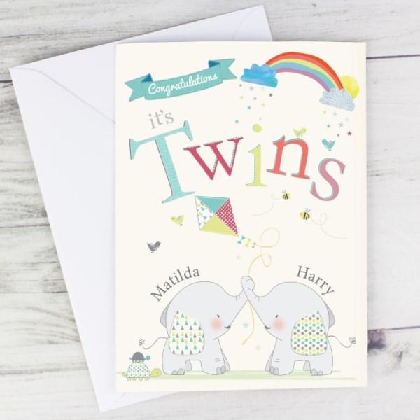 Hessian Elephant Twins Card