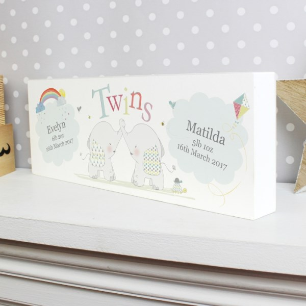 Hessian Elephant Twins Wooden Block Sign