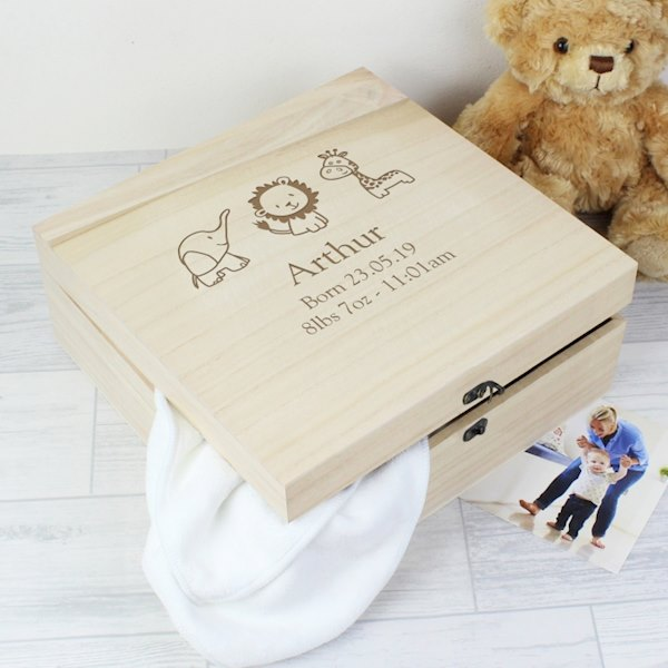Hessian Friends Large Wooden Keepsake Box