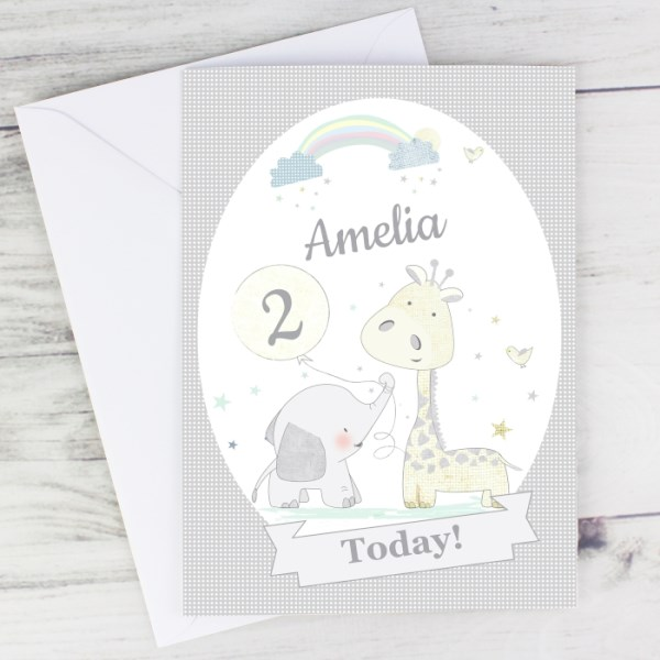 Hessian Giraffe & Elephant Card