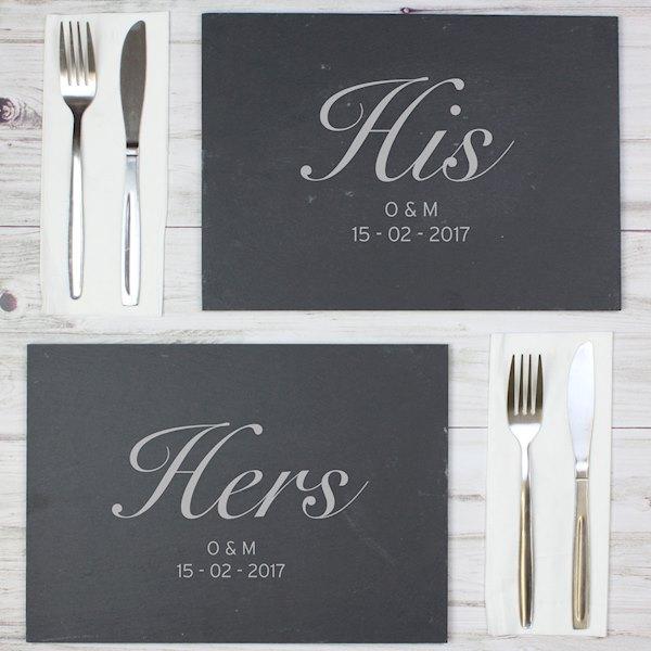 His and Hers Slate Placemat Set
