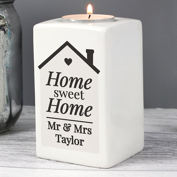 Home Sweet Home Ceramic Tea Light Candle Holder