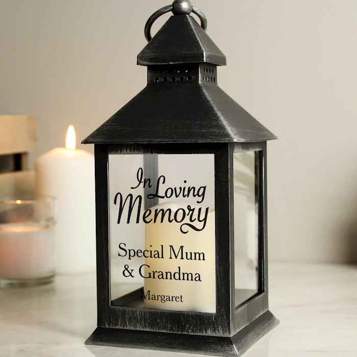 In Loving Memory Rustic Black Lantern