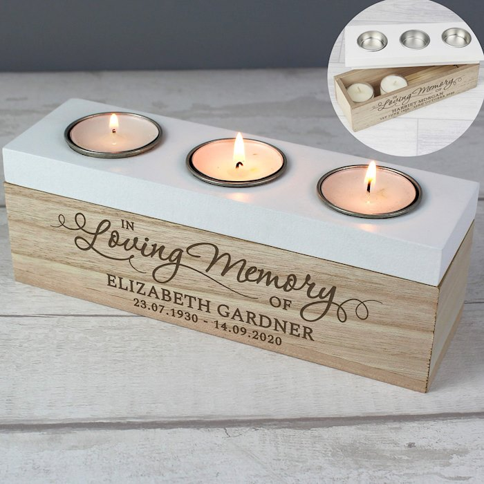 'In Loving Memory' Triple Tea Light Box