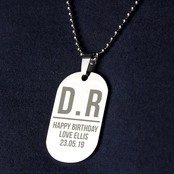 Initials Stainless Steel Dog Tag Necklace