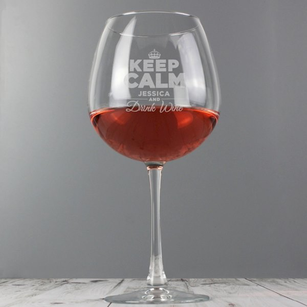 Keep Calm Bottle of Wine Glass