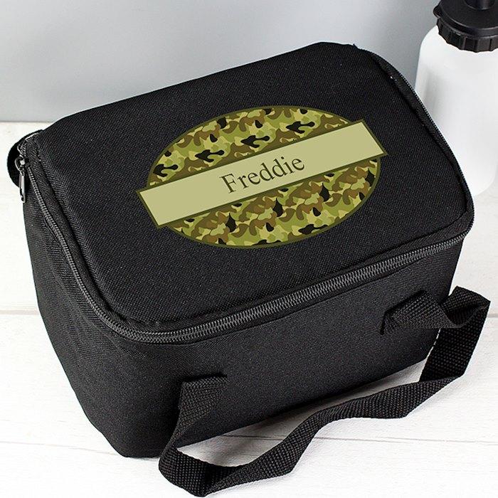 Khaki Camo Black Lunch Bag