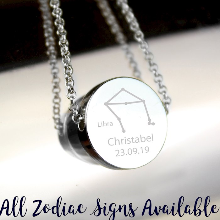 Libra Zodiac Star Sign Silver Tone Necklace (September 23rd - October 22nd)