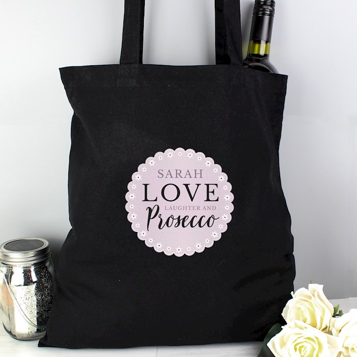 Lilac Lace 'Love Laughter & Prosecco' Black Cotton Bag