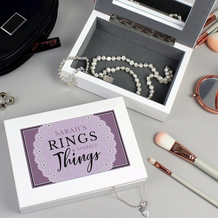 Lilac Lace 'Rings & Sparkly Things' Jewellery Box