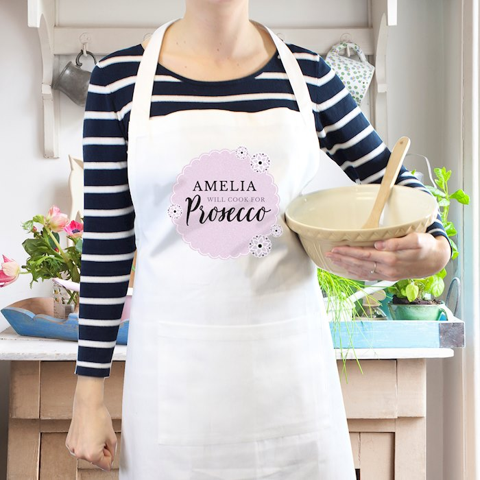 Lilac Lace 'Will Cook for Prosecco' White Apron