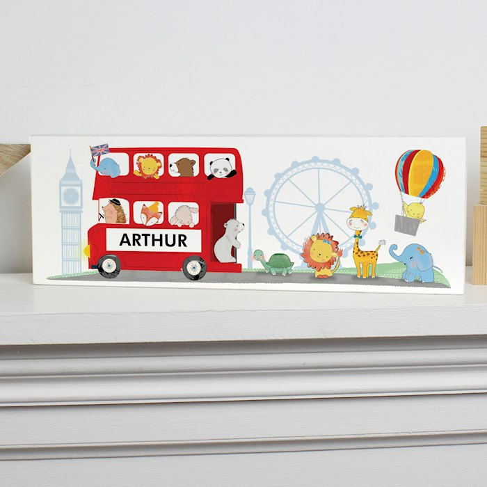 London Animal Bus Wooden Block Sign