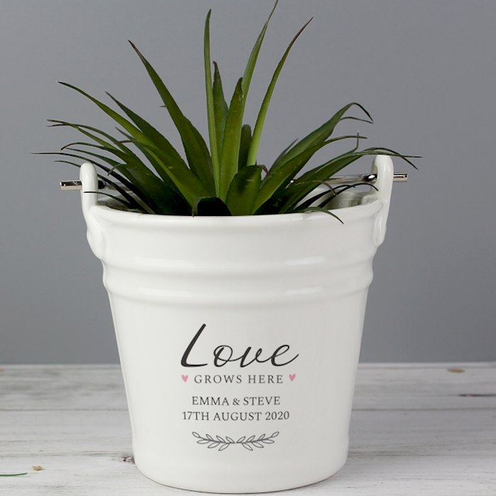 'Love Grows Here' Porcelain Planter