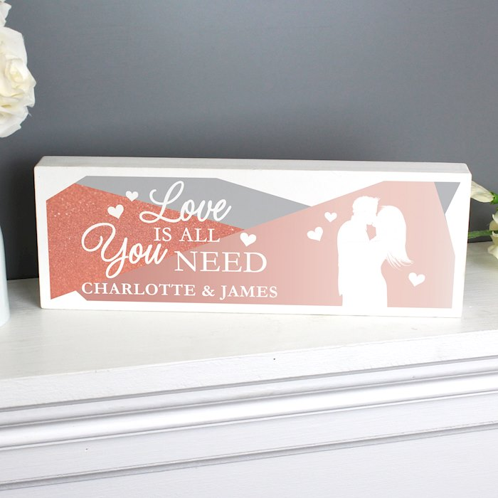 'Love is All You Need' Wooden Block Sign