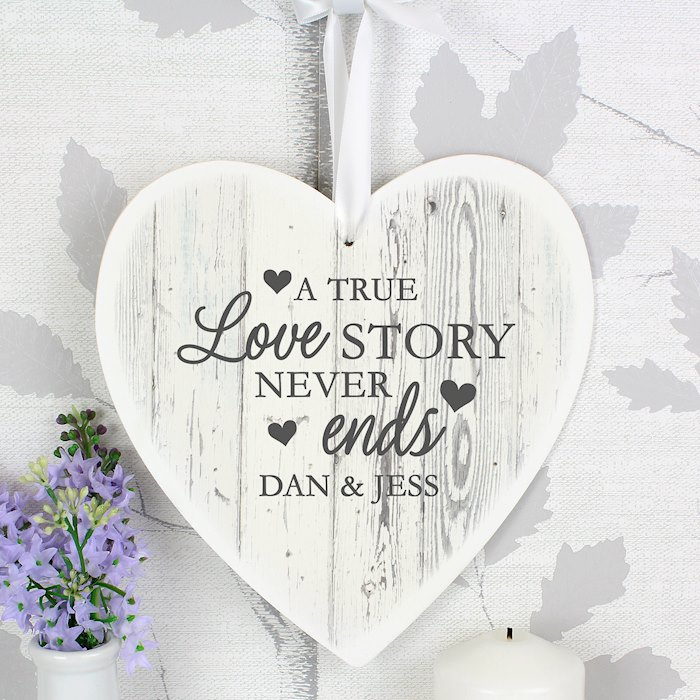 Love Story 22cm Large Wooden Heart Decoration
