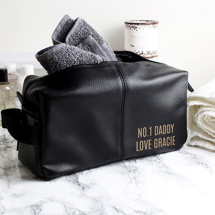Luxury Black leatherette Wash Bag