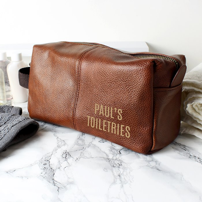 Luxury Brown leatherette Wash Bag