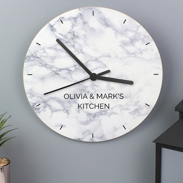 Marble Effect Wooden Clock