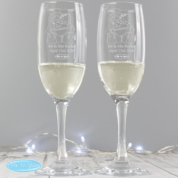 Personalised Me To You Engraved Wedding Pair of Flutes with Gift Box