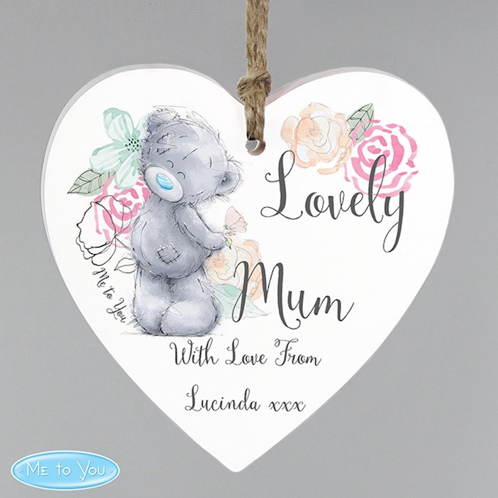 Me to You Floral Wooden Heart Decoration