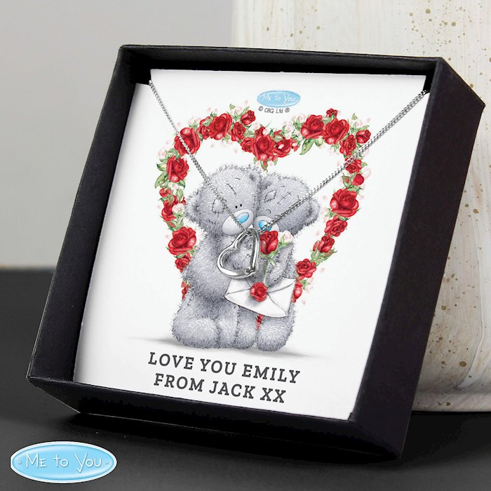 Me to You Valentine Sentiment Heart Necklace and Box