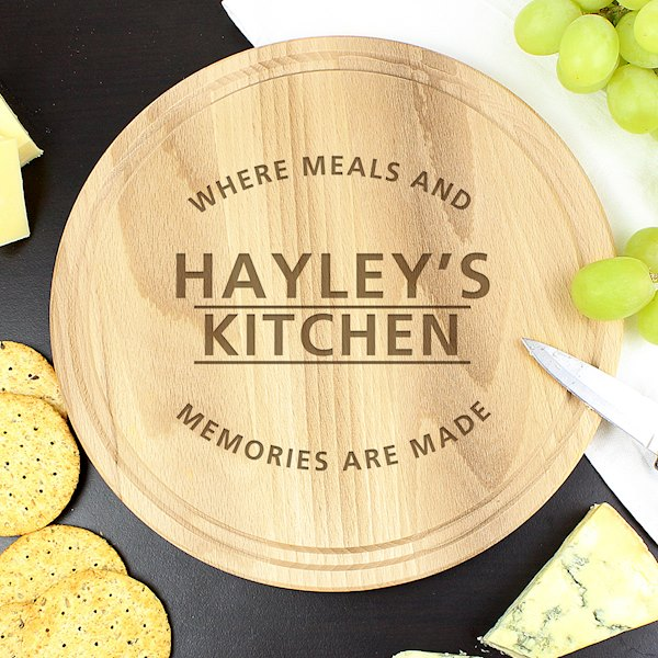 'Meals and Memories' Round Chopping Board