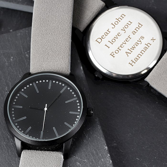 Mens Matte Black Watch with Grey Strap and Presentation Box