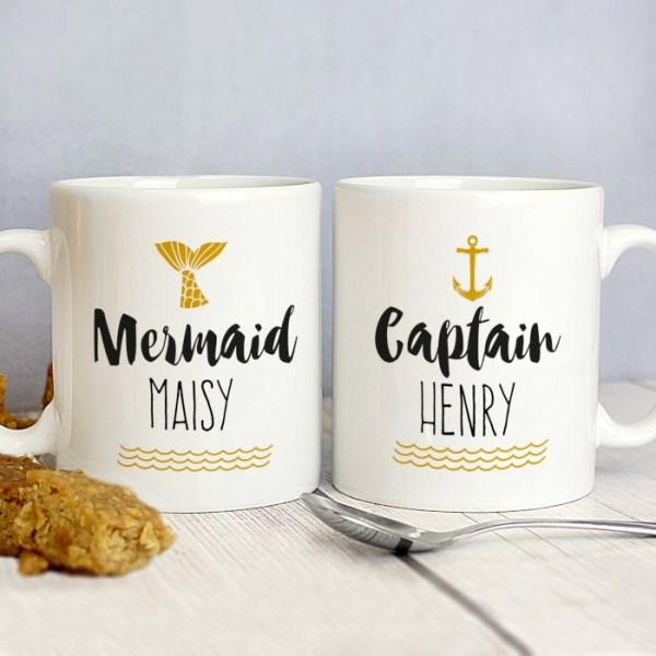Mermaid and Captain Mug Set