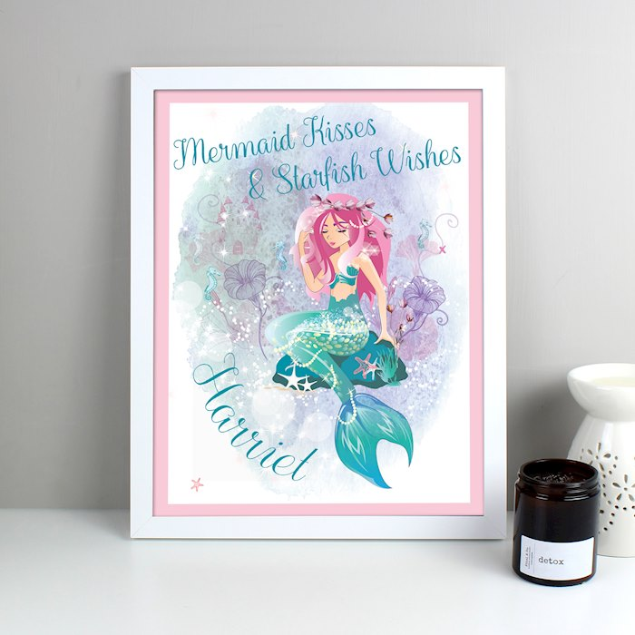 Mermaid White Framed Poster Print