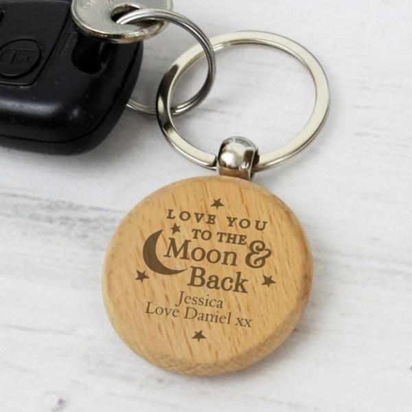 Moon & Back Wooden Keyring