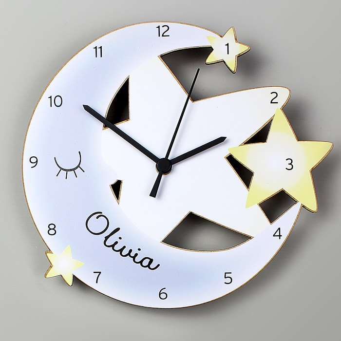 Moon and Stars Shape Wooden Clock