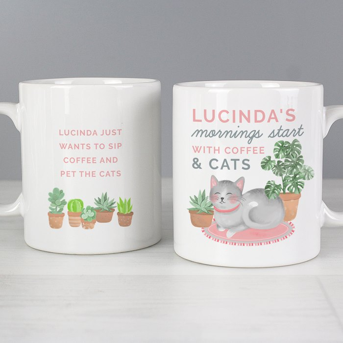 """Mornings Start with Cats and"" Mug"