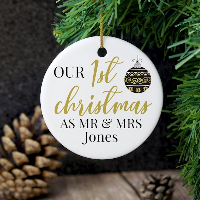 Mr and Mrs 1st Christmas Round Ceramic Decoration