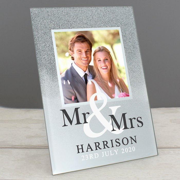 Mr & Mrs 4x4 Glitter Glass Photo Frame