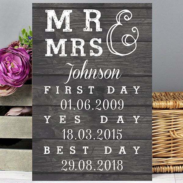 Mr & Mrs, First Day, Yes Day & Best Day Metal Sign