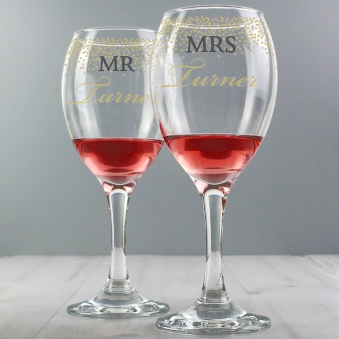 Mr and Mrs Gold Confetti Pair of Wine Glasses