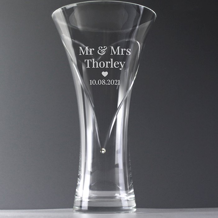 Mr & Mrs Large Hand Cut Diamante Heart Vase with Swarovski Element