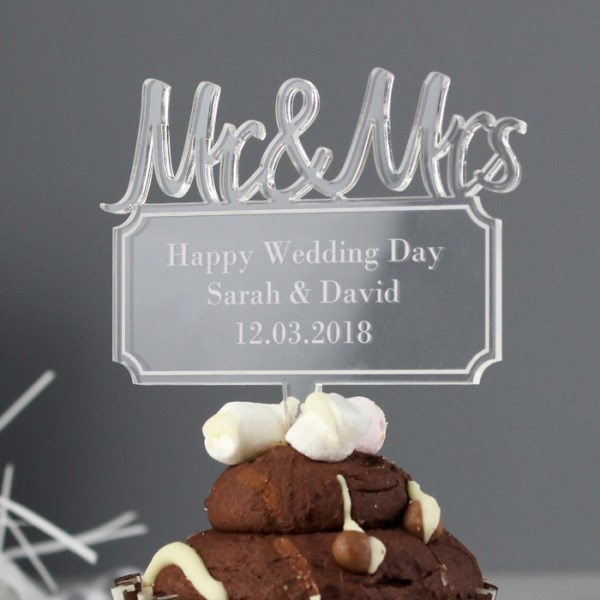 Mr & Mrs Plaque Acrylic Cake Topper