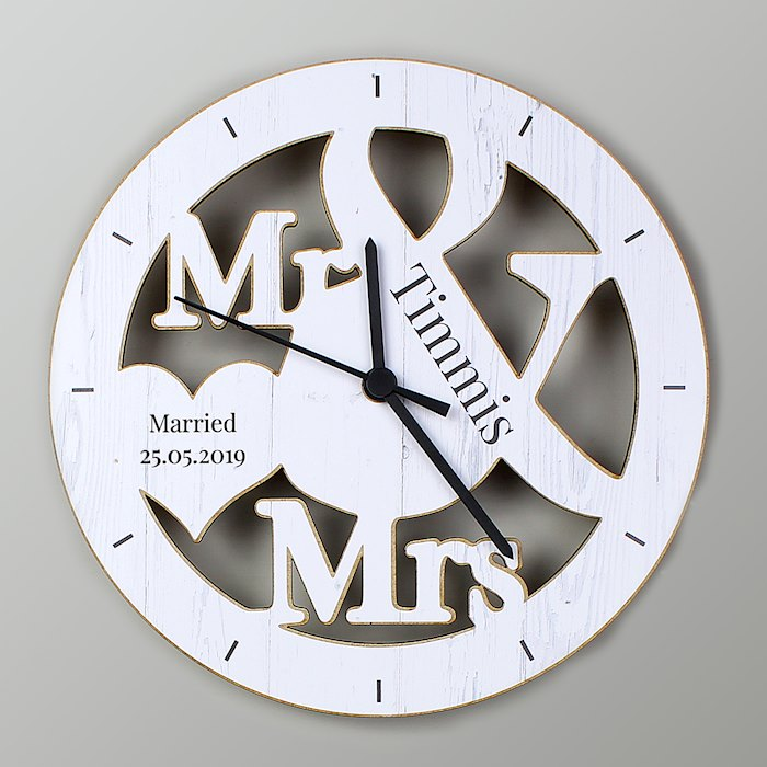 Mr & Mrs Shape Wooden Clock
