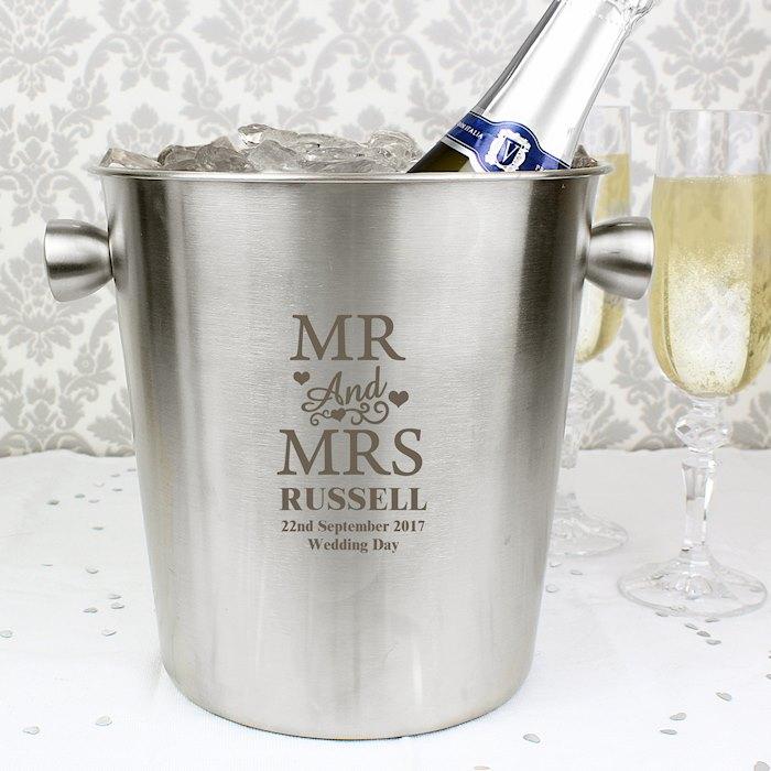 Mr & Mrs Stainless Steel Ice Bucket